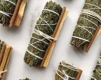 Cedar Smudge Kit - Cedar and Palo Santo, Space Clearing, Energy Cleansing, Protection Ritual
