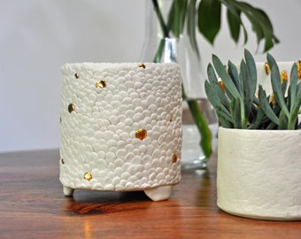 OOAK Planter - Handmade Porcelain Planter, Ceramic Vase, Modern Ceramic Vase, White Planter, Pottery Ceramics, Planter Pot