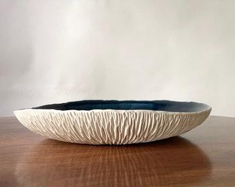 SALE - Extra Large Navy Blue Porcelain Platter  - Modern Decor, Large Ceramic Bowl, Catchall, Blue White Ceramic Bowl, serving platter