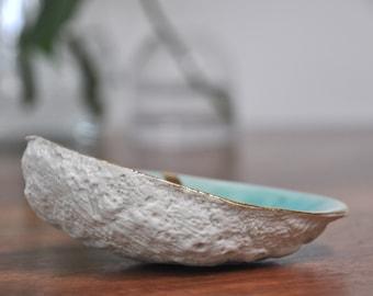 SALE Blue Gold Trim Abalone Bowl -  Blue Ring Dish, Ceramic Ring Dish,Trinket Dish , Gold Small Bowl