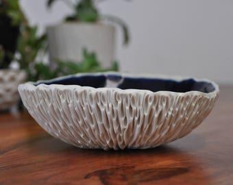 Navy Blue Medium Geode Bowl -  White Ceramic Bowl, Blue Ceramic, Modern Ceramic Handmade Pottery Bowl
