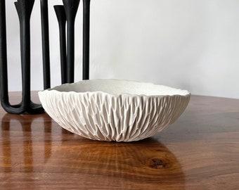 SALE - Medium Geode Bowl  -  Snowflake White Ceramic Bowl, Hostess Gift, Gift for Her,  Handmade Pottery, Porcelain Bowl