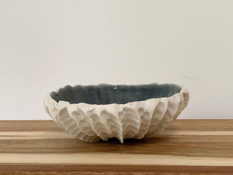 Engagement Gift Catchall Bowl Medium Gray Blue Scallop Bowl Pottery Bowl Wedding Gift Handmade Ceramic Bowl