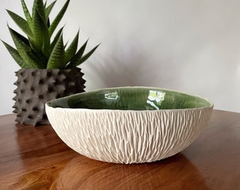 SALE- Extra Large Emerald Green Geode Bowl - Large Ceramic Bowl, Green White Ceramic Bowl, Fruit Bowl