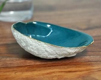 Teal Gold Trim Abalone Bowl -  Blue Ring Dish, Ceramic Ring Dish,Trinket Dish , Gold Small Bowl