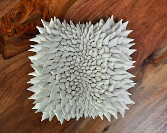 Cristata - Luxe Textured Wall Tile - Ceramic Wall Sculpture - Ceramic Wall Art - Porcelain Wall Tile - Ceramic Wall Flower