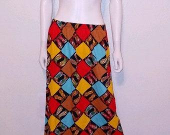 Vintage Western Pleated Boot Skirt Equestrian Theme Skirt Rope Skirt 80s 90s Pattern Navy Gold Red Skirt  Pocket Skirt