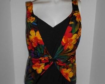 4bc27fb7e4196 SALE Closing Shop SALE Vintage Women's 80's 90's SWIMSUIT bathing suit one  piece tropical floral black