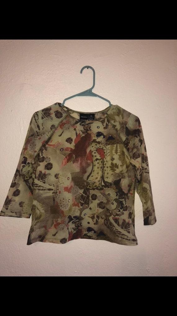 90s shirt top blouse sheer Asian rhinestone mesh