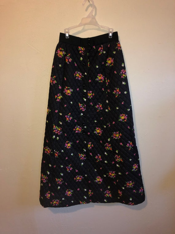 YOUTH GUILD 70's Vintage skirt, floral  long maxi