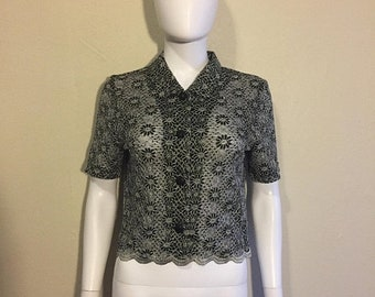 Closing Shop SALE 90s Black White Floral Sheer Blouse Top Shirt