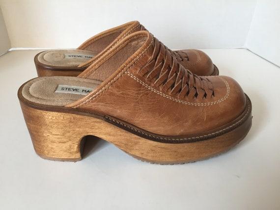 8 sabots bois taille Womens US tan brown cuir naqFqYUI