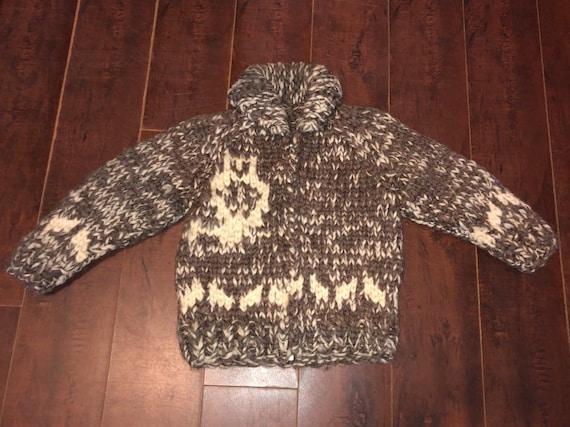 Cowichan Owl Cardigan Sweater, Vintage Zip Up Knit