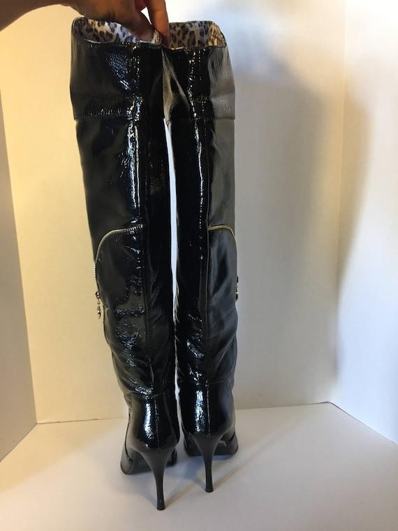 noir Bottes taille faux cuir en 6 haut verni US femmes talon WYq6TYw7