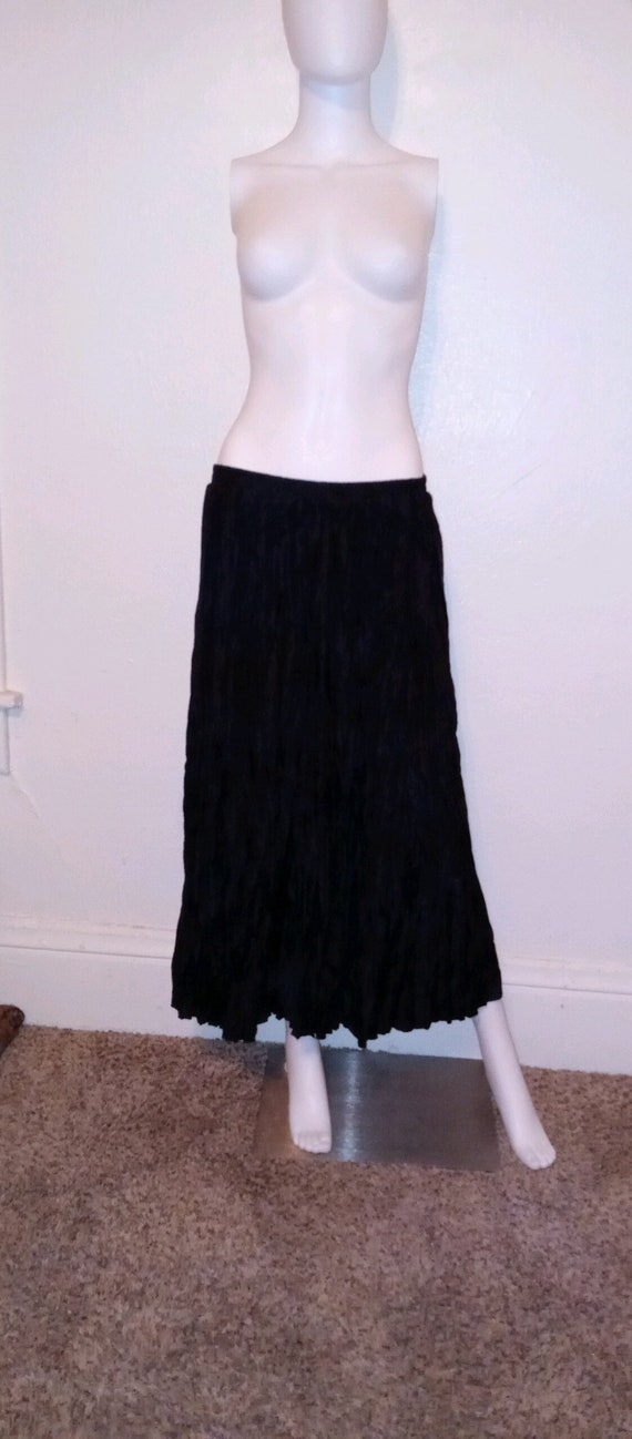 90s black silk skirt