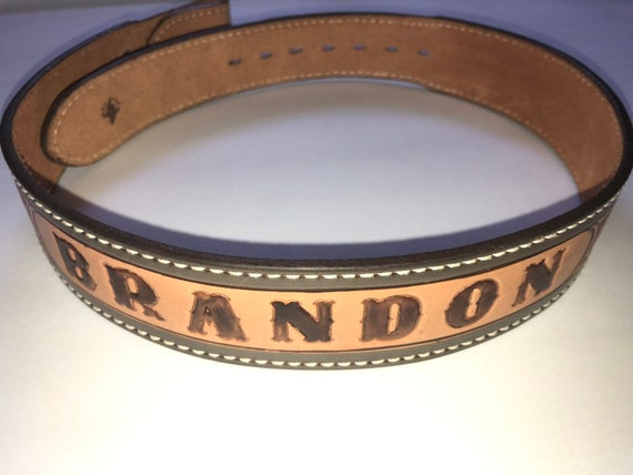 BRANDON leather tooled belt