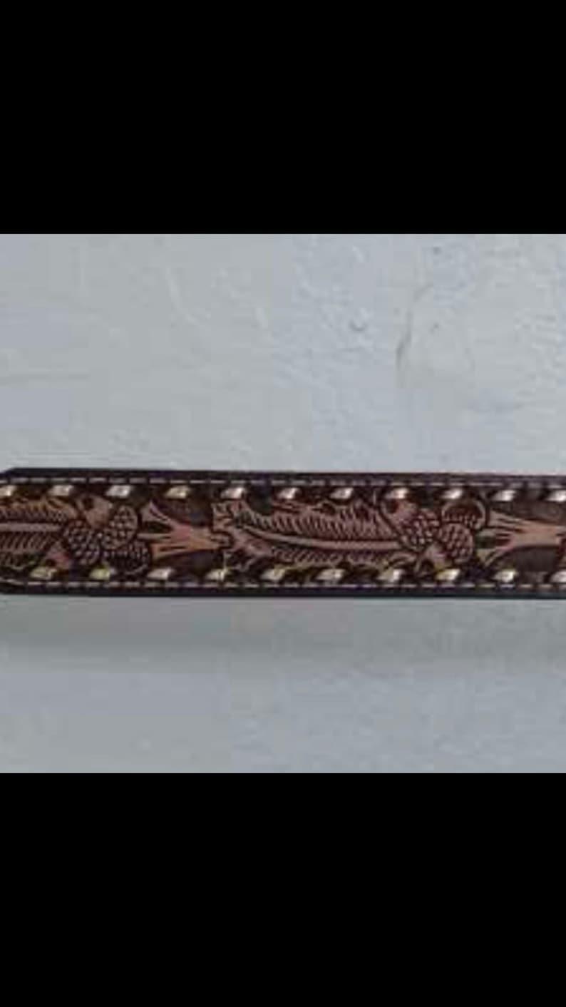 SALE Closing Shop SALE CLYDE acorn leather tooled belt size 34