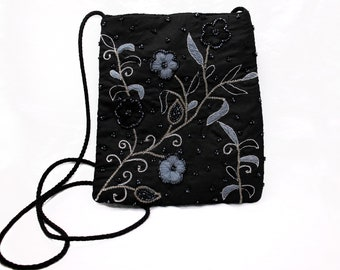 Black Silk Beaded Shoulder Bag, Snap Closure, Grey Blue Stitching, Floral Fabric Purse