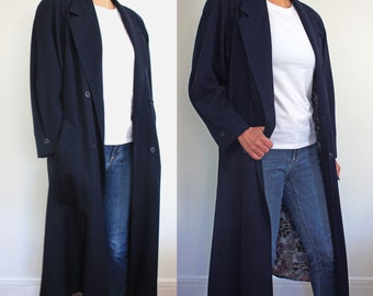 lightweight navy double breasted coat, vintage oversized 1980s mid length coat with animal print lining, made in Canada