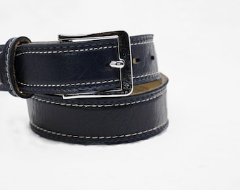 Dark navy blue leather belt with silver tone buckle, VARSITY, Made in Canada, Size 24, XS