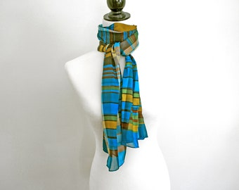 vintage teal plaid scarf, long scarf with shades of brown, turquoise and gold, 58 inches long