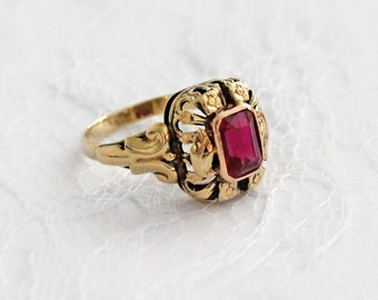 estate jewelry vintage 14K real gold synthetic ruby ring, art deco statement ring, size 7, floral ring, ornate flowers setting
