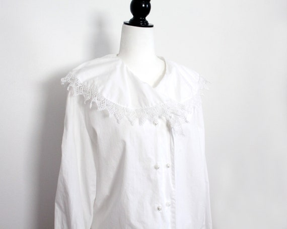white cotton lace collar blouse, double breasted v