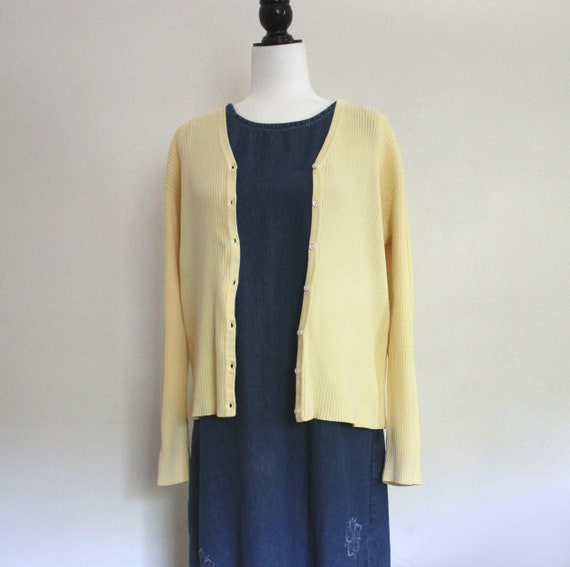 Light Yellow Cardigan Sweater, 90s Ribbed Knit Ove