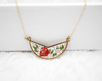 Floral enamel crescent necklace, Vintage pendant, New old stock with new 14K gold fill chain, Choose one pendant, Necklace length 16 - 20 in