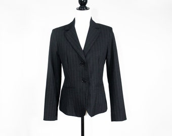 vintage TEENFLO charcoal blazer, 1990s chic fashion label pinstripe jacket for women, pockets, fitted hourglass shape power blazer, size 6