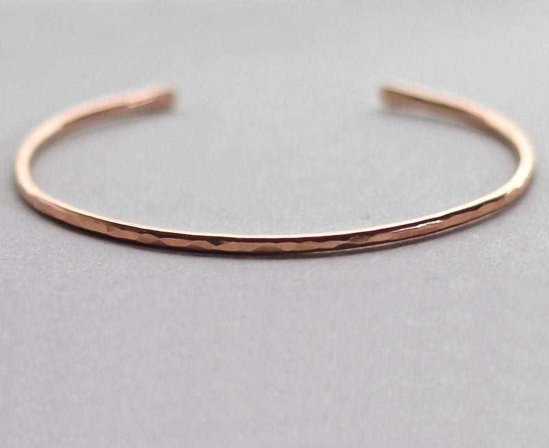 77dd3e846a2 Rose Gold Cuff Bracelet Hammered Rose Gold Bracelet Thin | Etsy