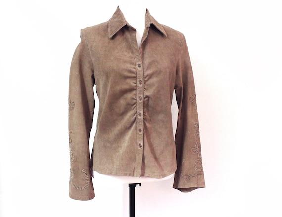 vintage genuine suede boho shirt jacket, SKOTTS SU
