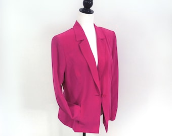 Evan Picone fuchsia 100% silk blazer, vintage fully lined loose fit padded shoulders long jacket single button closure slit pockets, size 12