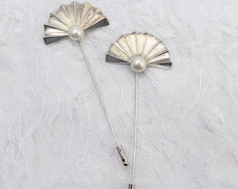 2 RODIER vintage hat pins, Silver and pearl fan shaped stick pins