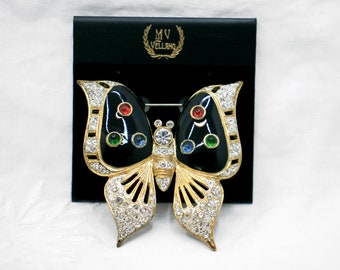 Vintage Rhinestone Butterfly Brooch, MV Vellano Collectible Brand New Old Stock 1980s Statement Jewelry