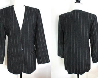 vintage charcoal grey pinstripe blazer, collarless 1980s broad shoulder long wool jacket for women, made in Canada, size 10