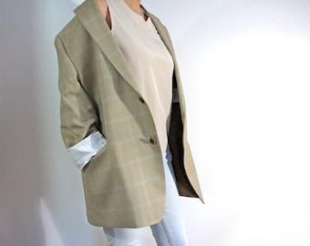 vintage MICHAEL KORS silk and wool blazer, unisex oversized beige office blazer, plaid boyfriend jacket, men's 46R