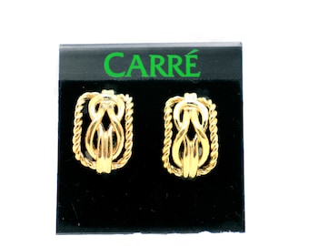 Vintage nautical knot earrings, 22K gold plated clip-on earrings, Marked Carré