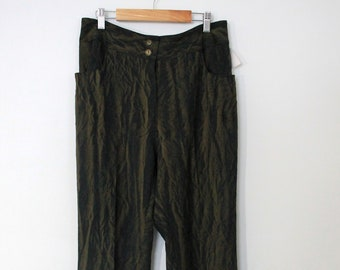 black gold crinkled pants plisse for women, 1990s / Y2K new with tag, high rise flowing relaxed fit trousers made in Canada, size 10