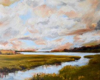 GICLEE PRINT on CANVAS Lowcountry Coastal Marsh Landscape Painting by Contemporary Impressionist April Moffatt