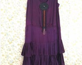 1920's Flapper Dress with Antique Iridescent Purple drippy Appliqué Deco