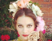 Millinery Flowers FESTIVAL Flower Crown or headpiece strip of antique flowers can be used for multiple purposes as-found