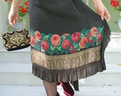 SALE GREATLY REDUCED 200.00 Gloria Swanson 1920s Black silk and Roses with Lamé  trim Dress Vintage