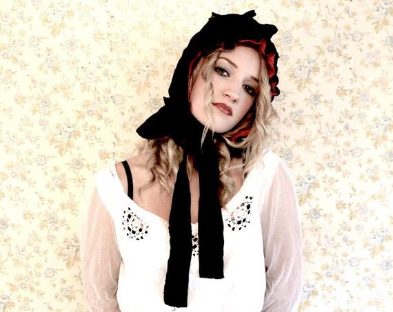 Victorian Mourning Bonnet Hat Velvet Red on the in