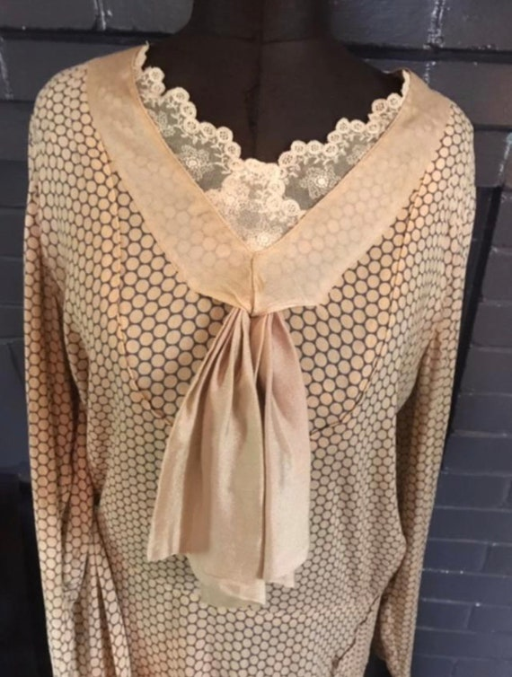 1920's Baby Face Flapper Day Dress Silk Polkadot … - image 2