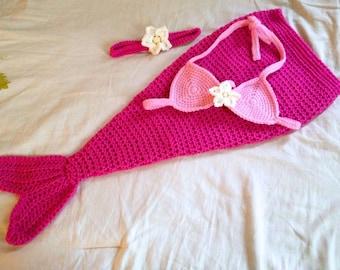 Baby Mermaid Costume - Baby Mermaid Outfit - Baby Mermaid Photo Prop - Newborn through 12 Months - Made to Order