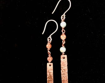 Delicate Copper Mismatched Dangle Earrings