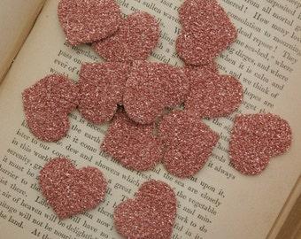 TWELVE Glass Glitter Hearts PINK