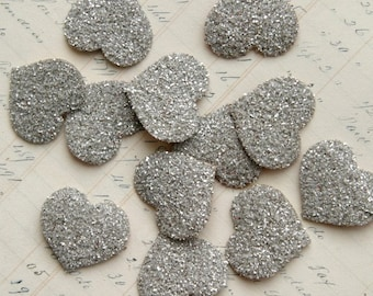 TWELVE Glass Glitter Hearts SILVER