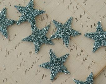 TWELVE Glass Glitter Stars  AQUA